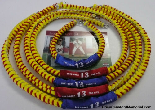 """Philippians 4:13 Removable Sleeve red or blue Baseball Lace Necklace 18/"""""""