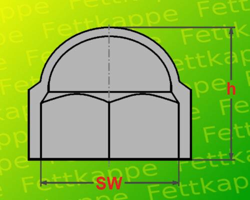 M10 Abdeckkappen Kappen 25 Sechskant Schutzkappen grau Schlüsselweite SW17