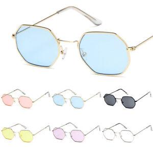 af6b13bf84 Image is loading Vintage-Retro-Hexagon-Square-Sunglasses-Metal-Frame-Glasses -