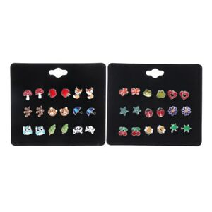 d0460c809 9Pairs Cute Small Animal Fruit Fox Butterfly Stud Earrings Set For ...