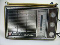 Vintage Robin 903 AM FM AFC Radio Solid State Japan 16 Transistor Leather WORKS