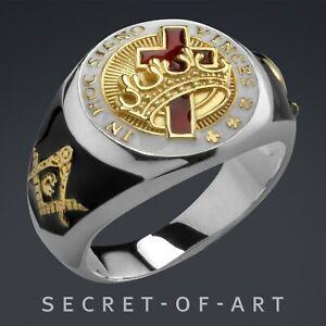 Tempelritter Ring Knights Templar Freimaurer Silber 925 Masonic Kreuzritter