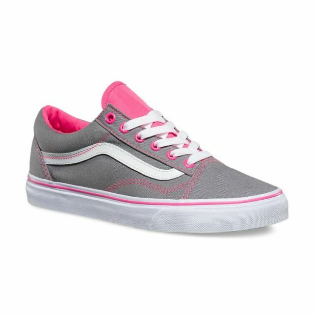 Vans Old Skool (Canvas) Frost Gray Neon Pink Pop Skate Shoes Mens Size 8.5