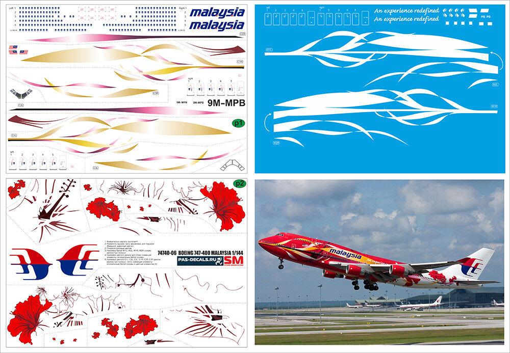 1 144 PAS-DECALS. ZVEZDA. REVELL. BOEING 747-400 MALAYSIA