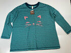 NWT Tea Collection Meow Cat Face Graphic Double Knit Teal Striped Top Sz 10