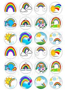 24 RAINBOW RAINBOWS CUPCAKE TOPPER WAFER RICE EDIBLE FAIRY ...