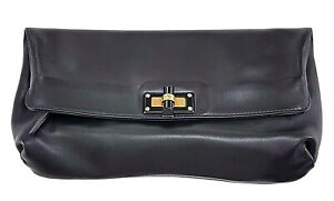 Lanvin-Black-Leather-Fold-Over-Clutch-Bag-Made-In-Italy-Purse