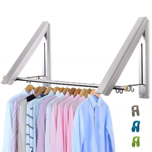 LIVEHITOP-Foldable-Wall-Mounted-Clothes-Rail-2-Pieces-Coat-Hanger-Racks-Dryer
