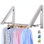 LIVEHITOP-Foldable-Wall-Mounted-Clothes-Rail-2-Pieces-Coat-Hanger-Racks-Dryer thumbnail 1