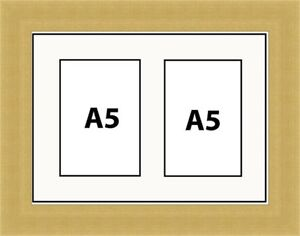 NEW-MULTI-APERTURE-PHOTO-PICTURE-FRAME-FIT-A5-2-PHOTOS-White-Mount-Made-in-UK