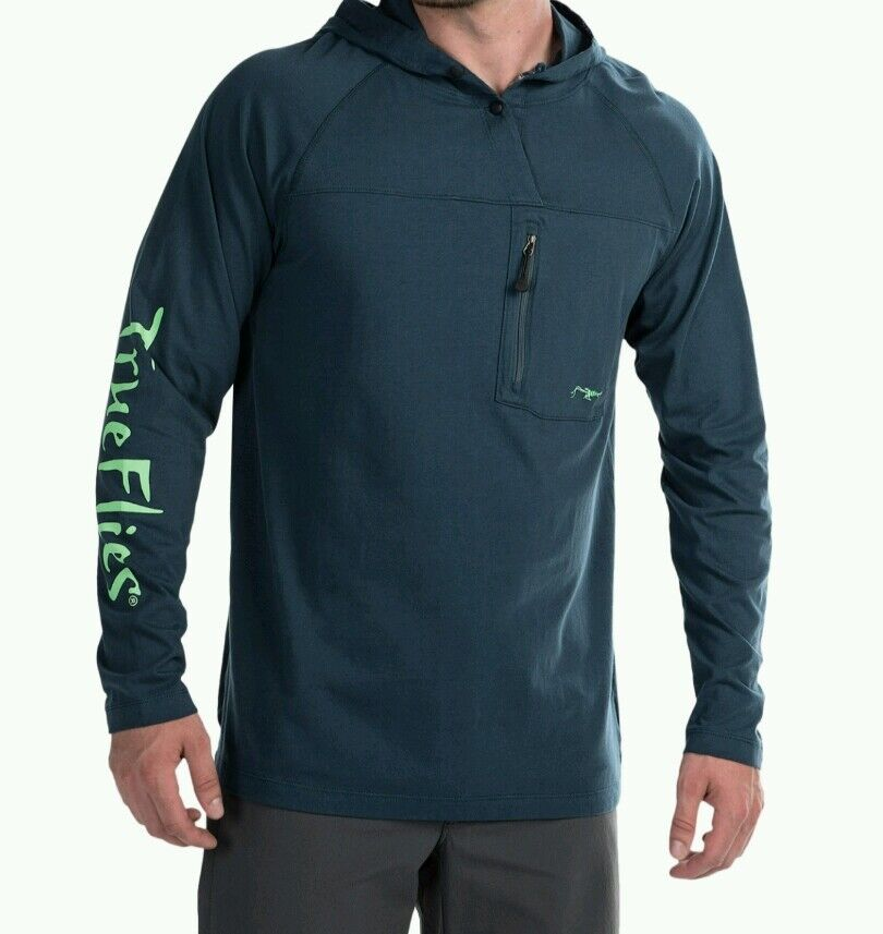 TrueFlies True Flies High Roller Hoodie Marlin bluee L Or 2XL  NWT