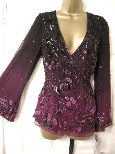 Long Silk New Wrap Sleeve 10 Heavily Frank Purple Top Plunge Usher Embellished zqO4wXR