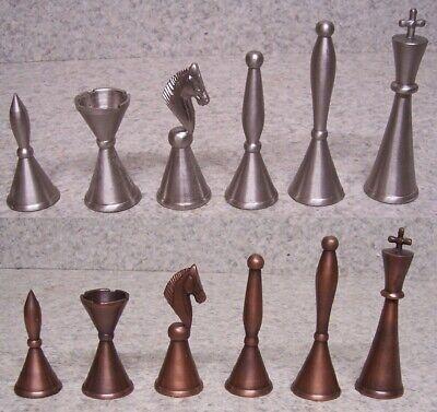 "NO BOARD 4 1//4/"" BRASS METAL MODERN ART DECO STAUNTON Chess Men Set"