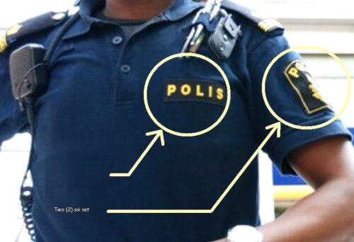 FANCY DRESS COSTUME movie GIRL PLAYED w//FIRE SWEDISH Polisen POLICE INSIGNIA SET