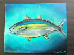 Original-Acrylic-Painting-Beach-Tuna-Fish-Marine-Life-16x20-Stretched-Canvas-Art