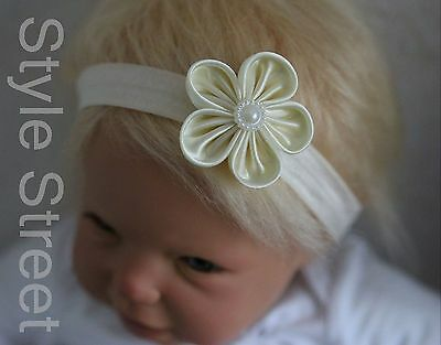 Baby Blüten Tüll Haarband Mädchen Haarschmuck Taufe Fotoshooting Blume Stirnband