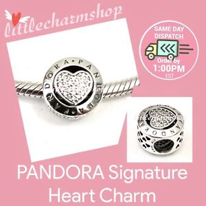 New-Authentic-Genuine-PANDORA-Silver-Signature-Heart-Charm-796218CZ-RETIRED