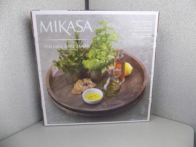 Mikasa Vintage Lazy Susan Rotating Tray WoodenBurnished Iron Detail