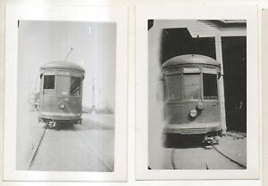 Lot-of-2-POTTSVILLE-TRANSIT-CO-Trolley-in-Barn-PA-Pennsylvania-Photographs