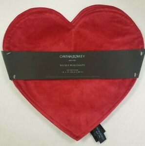 Nwt Cynthia Rowley Valentines Day Red Velvet Heart Set Of 4 Placemats 14 X15 Ebay