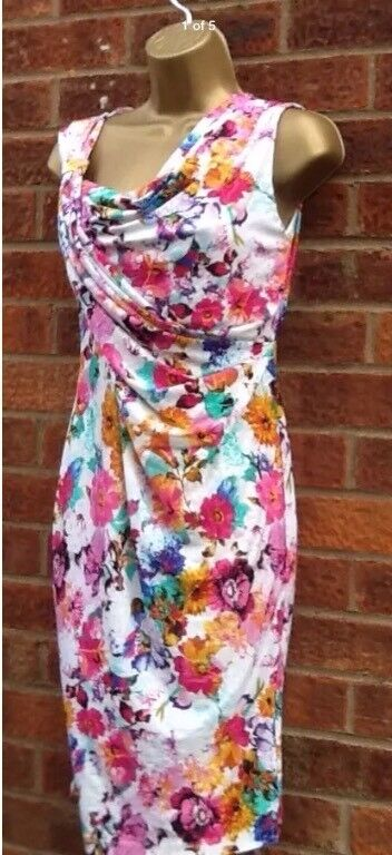EX Oasis Floral Drape Pencil Wiggle Dress 8