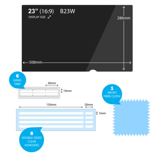 "B23W 23/"" Inch 16:9 EPHY PRIVACY ANTI-GLARE FILTER For TFT Widescreen Monitor"