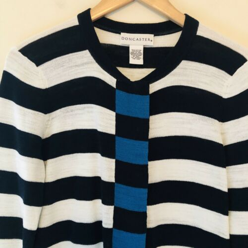 medium cardigan Striped 583 White Doncaster sweater Womens snaps Blue katoenen U7x5w6Fq