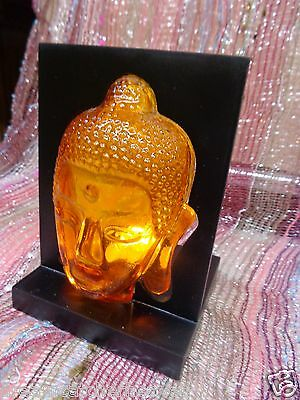 Beautiful Orange Glowing Thai Buddha Glass Tea Light Holder Decoration RRP$25