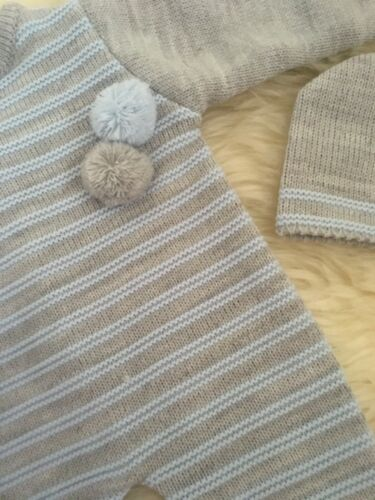 SPANISH STYLE BABY BOYS KNITTED ALL IN ONE ROMPER HAT GREY BLUE POM POM 3,6,12