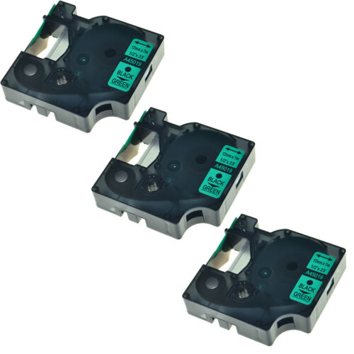 3PK Black on Green label tape 12mmx7m For DYMO D1 45019 LabelManager 200 400 450