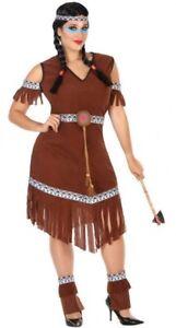 Déguisement Femme Indienne Marron Xxl Costume Adulte Dessin Animé Indien Neuf