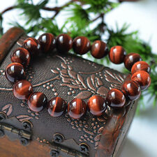 Natural Red Tiger's Eye Gemstone Round Beads Power Bracelet 12mm AAAA