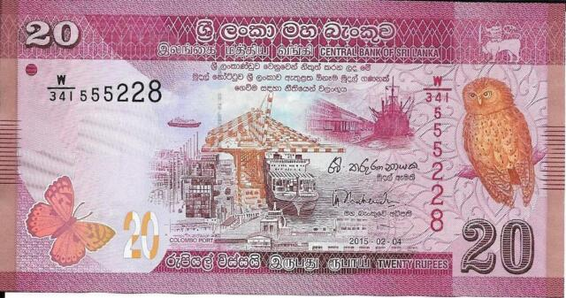 SRI LANKA 20 Rupees P -123, UNC from 2015, Nice, REPEATER NOTE 555, Butterflies