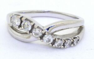 Heavy-14K-white-gold-56CTW-graduating-diamond-crossover-cocktail-ring-size-7