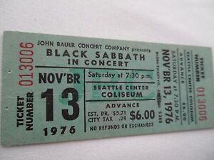 black sabbath 1976 original unused concert ticket seattle wa ebay. Black Bedroom Furniture Sets. Home Design Ideas
