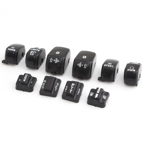 10pcs Black Switch Button Covers Caps For Harley Dyna Softail Electra Road Glide