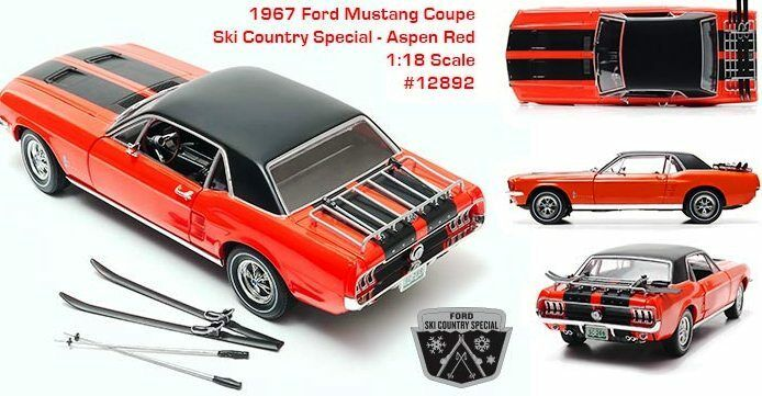1967 Mustang Coupe Ski Country Country Country Special Aspen Red 1 18 GreenLight 12892 2930c8