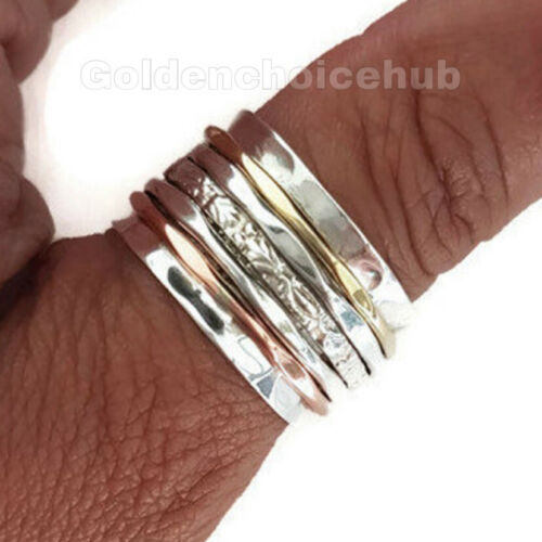 925 Sterling Silver Wide Band  Copper Spinner Ring Meditation Ring All Size P-03