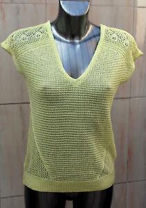 Ladies-M-amp-S-Per-Una-Sizes-8-16-18-Knitted-V-Neck-Top-Bnwt-Lemon
