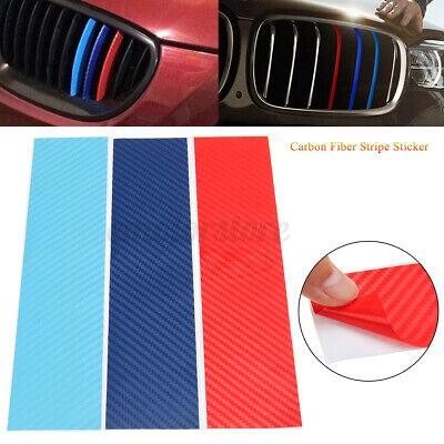 Carbon Fiber 3-Colored Stripe Decal Vinyl Sticker For BMW Grille Decoration