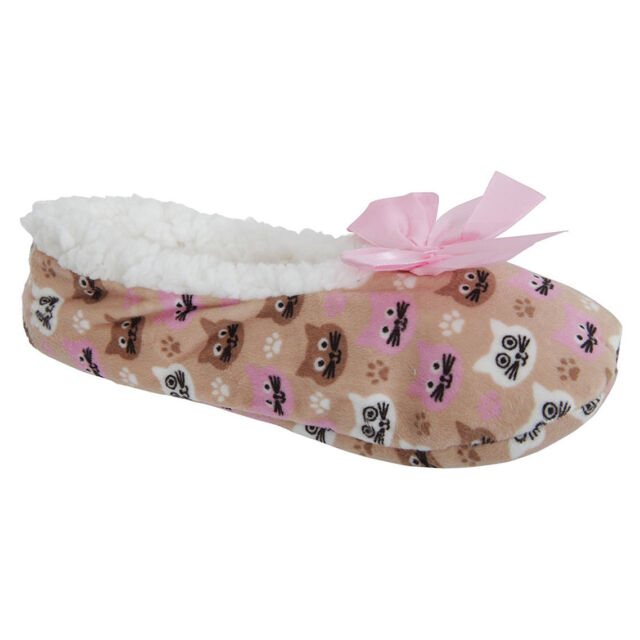 Ladies Luxury Spots Dots Sherpa Fleece Lined Gripper Sole Slipper Christmas Gift