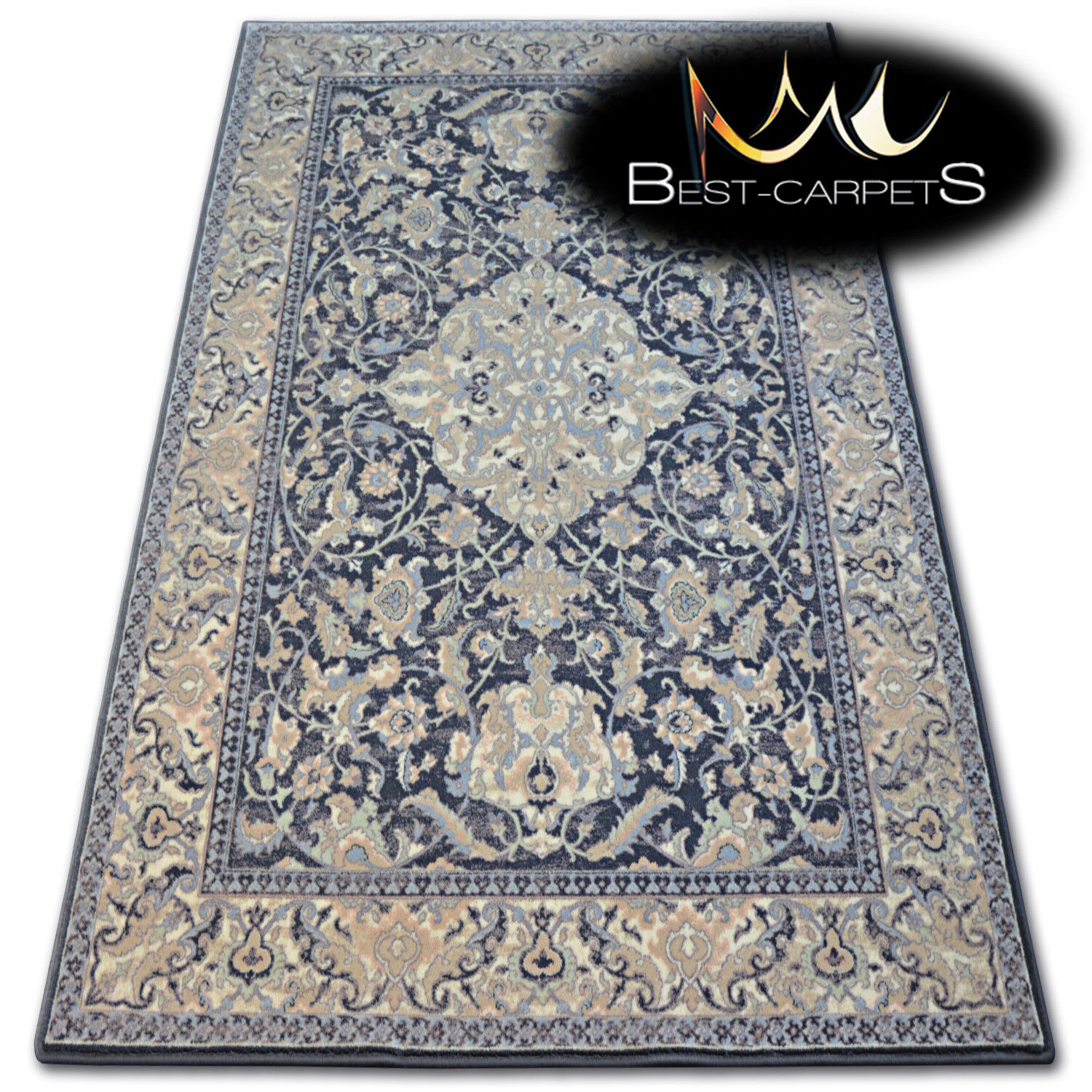 Natural Wool Agnella Rugs Anthracite Floral