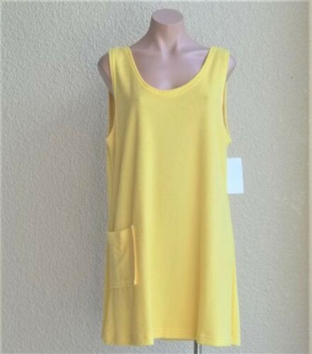 Size M Cotton Poly Sleeveless Terry Cloth Tank Style Cover Up w//Pocket