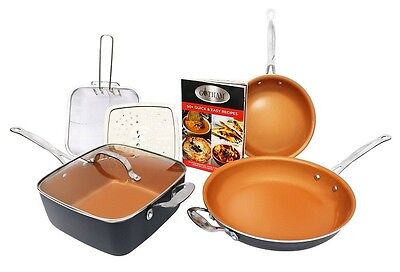 Gotham Steel Pantastic Bundle 7 Piece Set Ti-Cerama w Deep Pan - Copper - NEW!