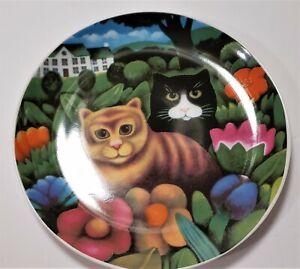 Vintage-Martin-Leman-Decorative-Plate-BASIL-and-CLARISSA-Dept-56-Cats-Garden