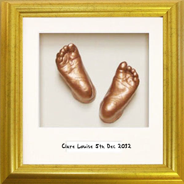 Baby Casting Kit 8x8 Gold Frame with Name Area keepsake gift unique christening