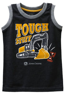 NEW John Deere Toddler Sleeveless Tough Stuff Excavator T-Shirt 2T 3T 4T