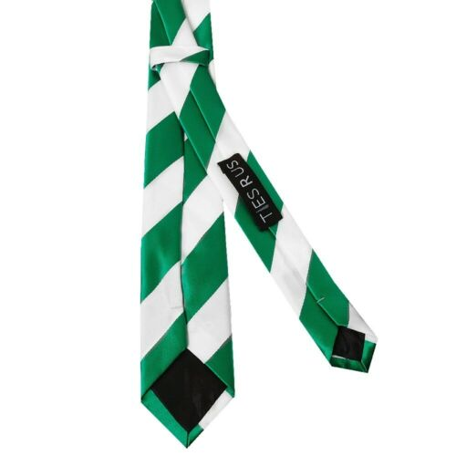 TIES R US Green and White Striped Skinny Boys Tie Kids Football Slim Thin Tie