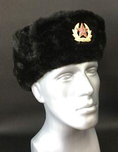 055fc0ff87492 Russian Hat Large Soviet Army Black KGB Fur Military Cossack Ushanka ...