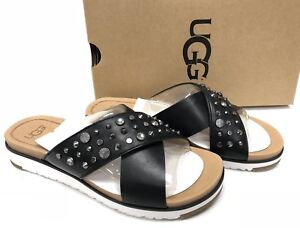 4c7c0d8567b Details about UGG Australia KARI Studded Bling Black LEATHER IMPRINT SLIDE  SANDALS 1090241